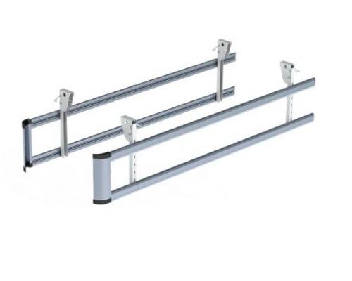 E061021B Paraciclista doble barra 3500 mm – soportes abat. – alu bruto