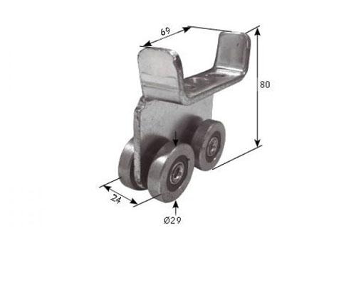 T650204 Carrucha para toldo de basculante con patines de plástico para raíl a